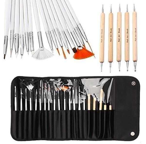 20pcs-Nail-Art Brushes-Tool-Kit-Set-on Amazon