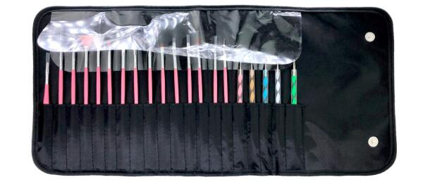 20pcs-Nail-Art Brushes-Tool-Kit-Set with black roll out pouch with magnetic closures